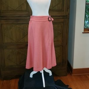 Coral colored wool skirt attached buckle